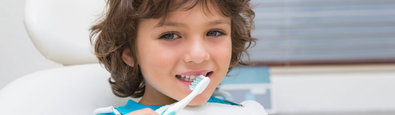 pediatric dental health for a little boy.